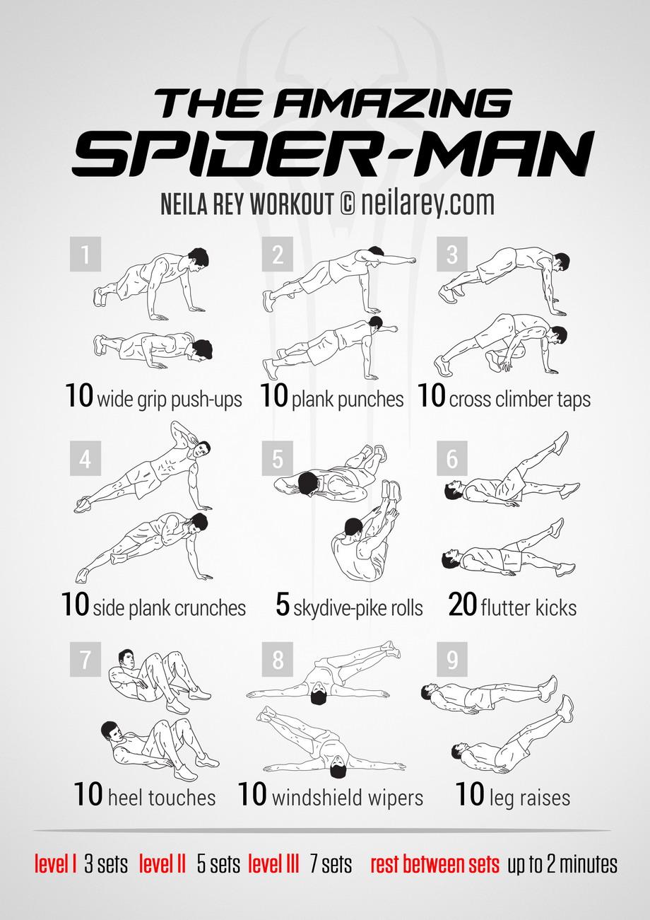 Découvrez les exercices de fitness de spiderman, cliquez sur l'image pour voir en grand